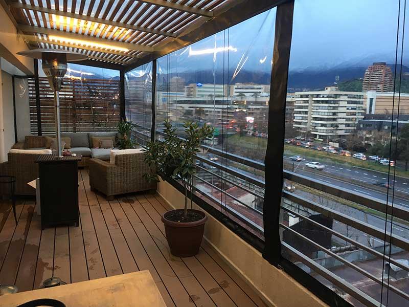Cierre de terrazas alzado con manivela manual y roldana solarsol - Cierres de terrazas ...